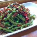Dry fried French beans 乾煸四季豆, a vegetarian dish