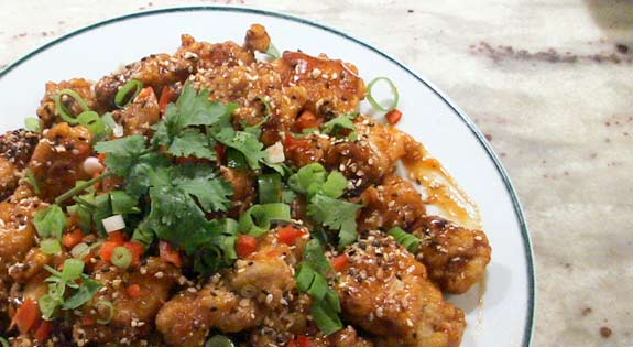 sesame chicken ready to serve