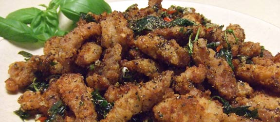 Delicious and hot salt & pepper pork