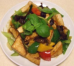 Taiwanese braised tofu is served
