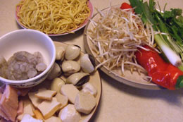 Seafood fried noodles ingredients