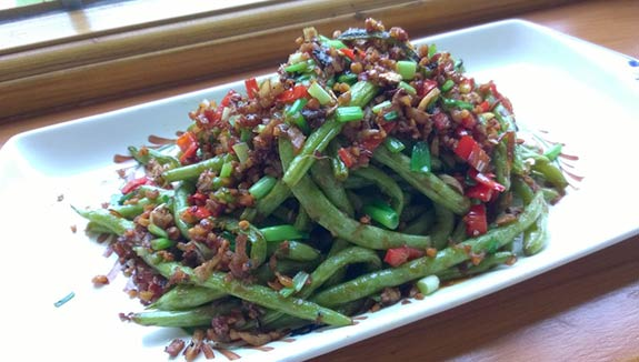 French beans, dry fried and ready to eat!